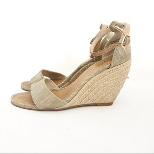 Seychelles Linen & Jute Wedge Sandals Size 8